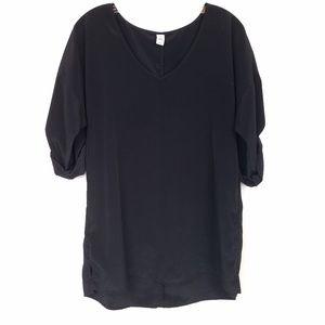 OLD NAVY Tunic Black Blouse Tab 3/4 Sleeve V-Neck